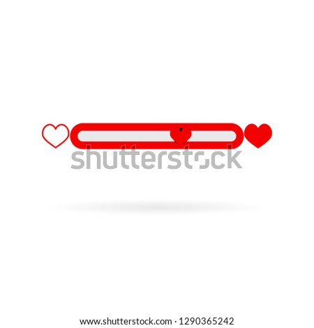 Bar love indicator meter isolated on white. Vector indicator bar with heart red, love rating illustration