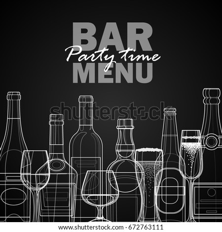 Bar menu template. Linear bottles of alcoholic drinks.
