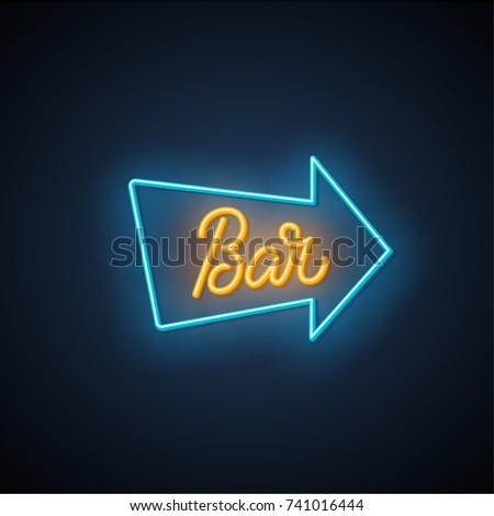 Bar neon signboard. Vector Illustration.