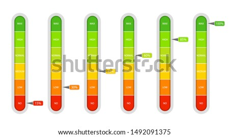 Bar of meter with progress level from red to green. Measure ruler diagram of rating.Verticalscale speedometer with low and high level. Concept graphic slider infographic. vector eps10