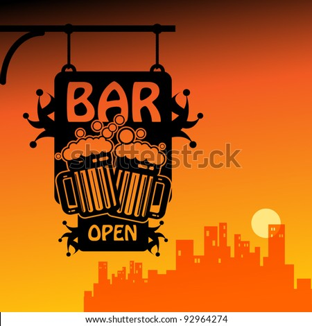 Bar open vector illustration
