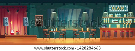 Bar or pub with live music cartoon vector interior. Stools near bar counter, shelves with alcohol drinks, table and chairs for visitors, performance stage with guitar and loudspeakers illustration