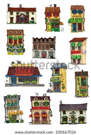 bar, pub, cafe, restaurant, pizzeria - cartoon
