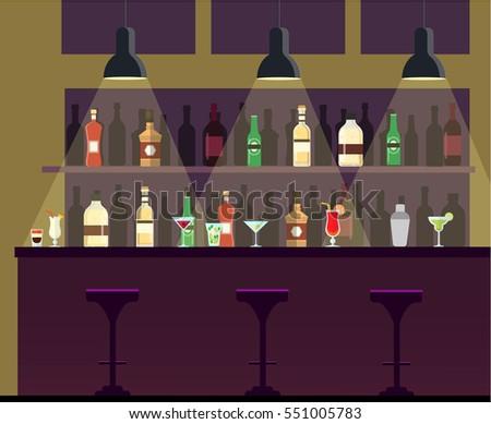 Bar, pub, night club interior flat illustration with bottles, beverages, cocktails.
