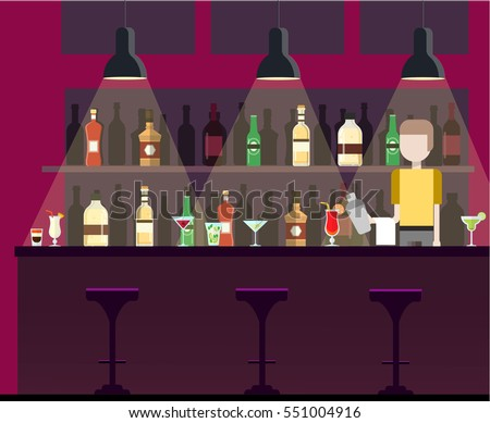 Bar, pub, night club interior flat illustration with bottles, beverages, cocktails. Man works as a bartender at the bar, holding shaker in the hand