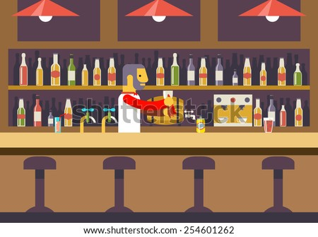 Bar Restaurant Cafe with Barkeeper Character Symbol Alcohol House Interior Icon Background Concept Flat Design Template Vector Illustration