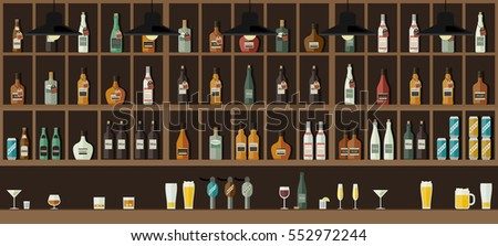 Bar Restaurant counter with drinks in flat style. Vector banner with shelves with alcohol.