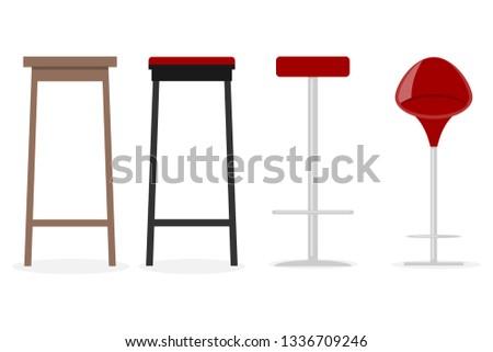 Bar stool, bar stool icon. Vector illustration of cartoon bar stool.