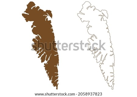 Baranof island (United States of America, North America, Alaska, US, USA, Alexander Archipelago) map vector illustration, scribble sketch Sheet'-ka X'aat'l or Shee map Stok fotoğraf ©