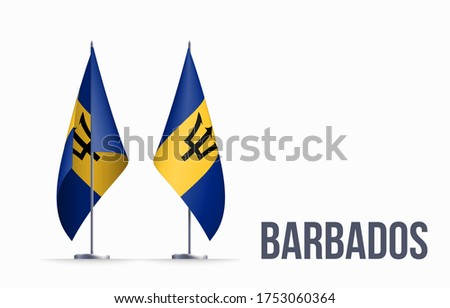 Barbados flag state symbol isolated on background national banner. Greeting card National Independence Day of the Republic of Barbados. Illustration banner with realistic state flag. Foto stock ©