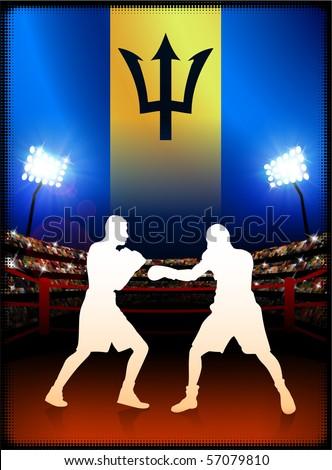 Barbados Flag with Boxer on Stadium Background Original Illustration - stock vector