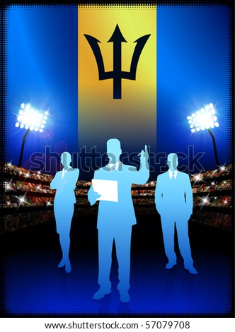 Barbados Flag with Business Team on Stadium Background Original Illustration