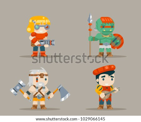 Barbarian, bard, tribal, orc and  inventor rifleman fantasy game RPG characters icons set vector illustration