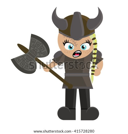 barbarian girl in cartoon style