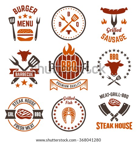 Barbecue and grill labels, badges, logos and emblems, set of vector templates isolated on white background. Steak house restaurant menu design elements