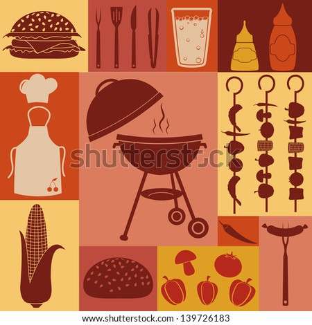 Barbecue and picnic icons set.