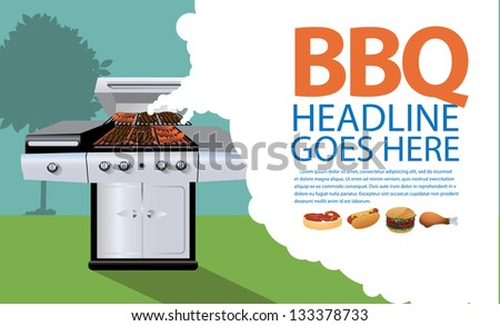 Barbecue background. EPS 8 vector, grouped for easy editing. No open shapes or paths.
