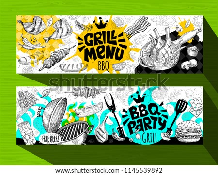 Barbecue banner posters grilled food, sausages, chicken, french fries, steaks, fish, grill menu BBQ party. Set trendy sketch style cards typography chalkboard. Hand drawn vector illustration.