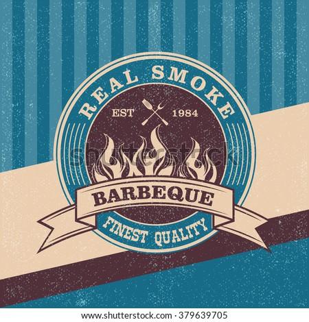Barbecue BBQ logo, stamp, retro poster, food menu design