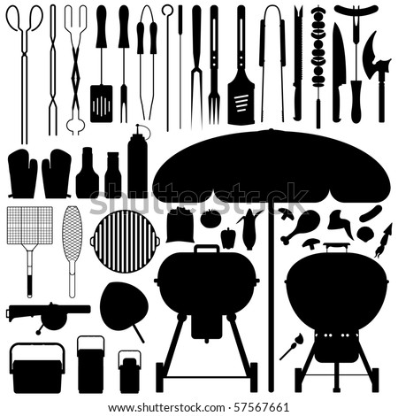 stock vector : Barbecue BBQ Silhouette Set Vector