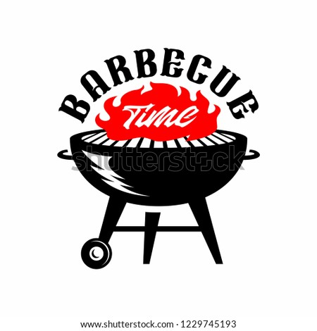 Barbecue BBQ Time retro Graphic, . Hand drawn typography poster.Vector Typography.