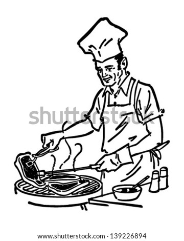 Barbecue Chef - Retro Clip Art Illustration