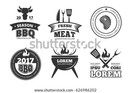 Barbecue, grill, bbq steak house restaurant vintage vector labels, badges, logos and emblems. Gril bbq emblem restaurant, illustration of vintage bbq label for menu