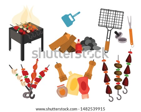 Barbecue grill cartoon elements set on white background. Cookout BBQ party icons. Set of barbecue charcoal kettle grill with tools, street food. BBQ tools set. Barbecue grill kitchen isolated elements