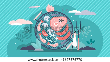Barbecue grill concept, flat tiny chef person vector illustration. Steak, sausages and seafood shrimps. BBQ garden party culture or restaurant menu food items. Cooking skills and nutrition knowledge.
