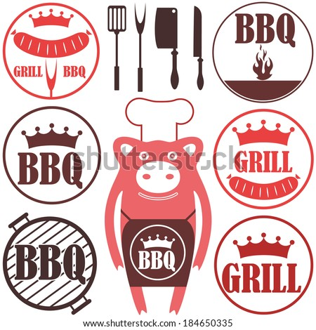 Barbecue grill logo. Isolated barbecue grill on white background