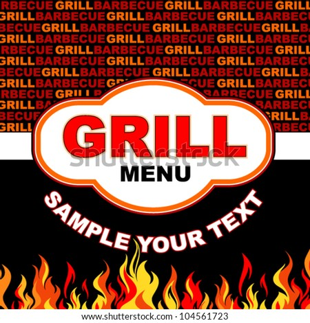 Barbecue grill menu card design.