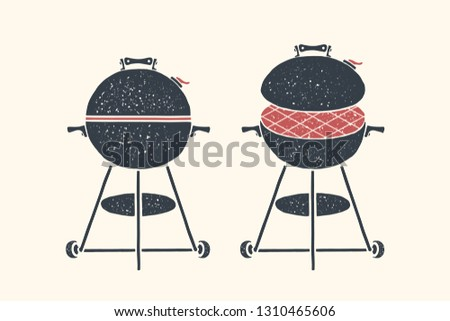 Barbecue, grill. Poster bbq, barbecue, grill tools. Set of bbq stuff, Webber Grill. Black and white graphic, bbq grill icons on white background. Hand drawn sketch. Vector illustration