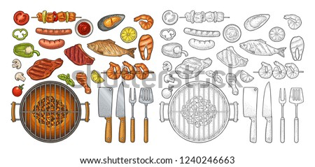 Barbecue grill set with fork, knifes, spatula, kebab, sausage, chicken leg, steak, fish, oyster, shrimp, basil, lemon. Vintage monochrome and color vector engraving isolated on white background