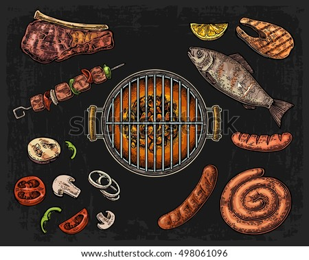 Barbecue grill top view with charcoal, mushroom, tomato, pepper, sausage, lemon, kebab, fish and beef steak. Vintage color vector engraving illustration. Isolated on dark background