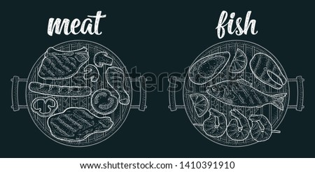 Barbecue grill top view with charcoal, tomato, pepper, onion, kebab, sausage, chicken, charcoal, oyster, shrimp, lemon, beef and fish steak. Vintage white vector engraving on dark background