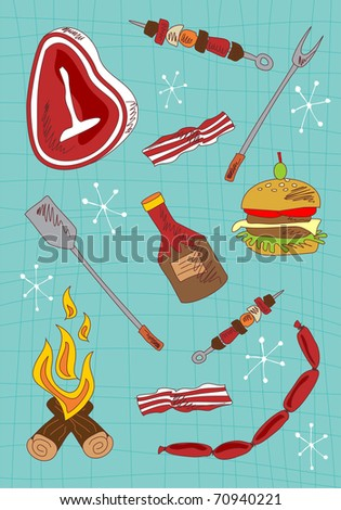 Barbecue hand draw icons set on green background.