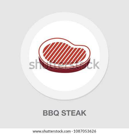 barbecue icon - grilled bbq steak illustration, restaurant symbol - cooking meal