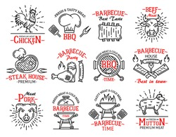 Barbecue icons and signs in line art style. Meat products chicken and beef, steak and sausage, pork and mutton. BBQ steak house symbols, butchers hat and grilling machine isolated vector set