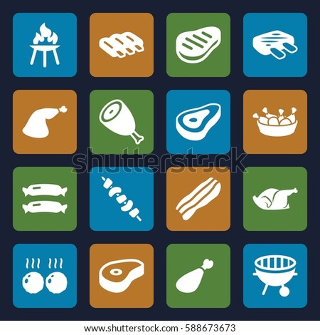 barbecue icons set. Set of 16 barbecue filled icons such as beef, sausage, chicken leg, chicken, meat leg, kebab, bbq, bacon