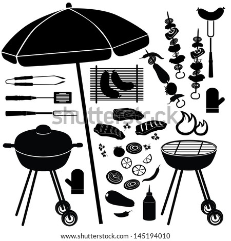 Barbecue icons vector set. BBQ illustrations collection of silhouette isolated on white background. .