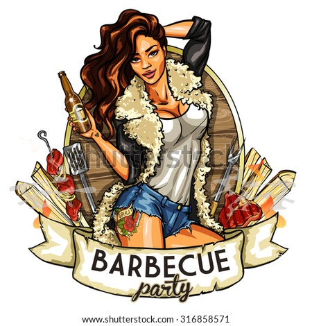 barbecue label with pretty