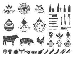 Barbecue logo and labels. BBQ, meat, vegetables, beer, wine and equipment icons
