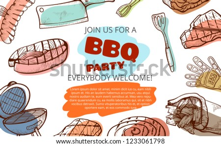 Barbecue party food and tools banner with copyspace. Poster for meal or gathering at which meat cooked out of doors on a rack. Vector illustration on white background
