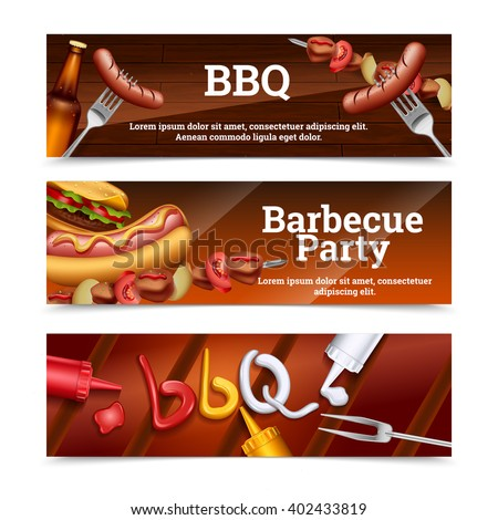 Barbecue party horizontal banners with hot dog skewer hamburger and sauce set vector illustration