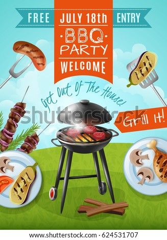 barbecue party poster with