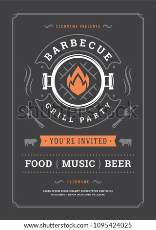 Barbecue party vector flyer or poster design template. BBQ cookout event retro typography.
