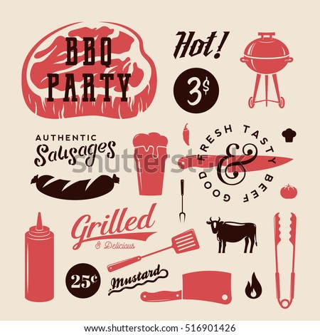 Barbecue Party Vector Retro Labels or Symbols. Meat and Beer Icon Typography Pattern. Steak, Sausage, Grill Signs. Isolated.
