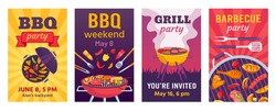 Barbecue posters. BBQ party invitations for summer outdoor picnic in park or back yard with food on grill. Cookout event flyers vector set. Illustration bbq picnic poster template, grill barbecue