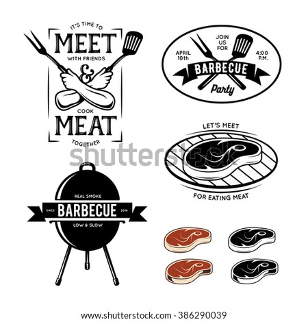 barbecue related labels  badges