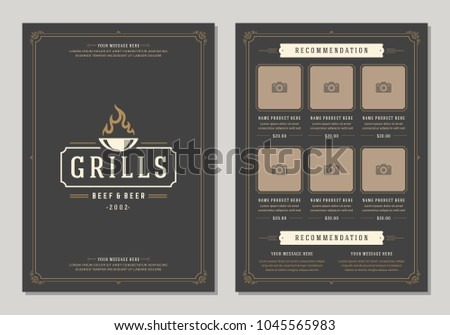 Barbecue restaurant logo and menu design vector brochure template. Grill silhouette.